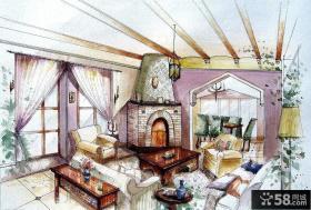 美式客厅室内设计手绘效果图