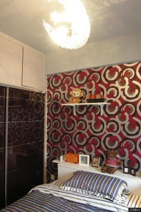 简约风格三居室卧室背景墙壁纸效果图片欣赏