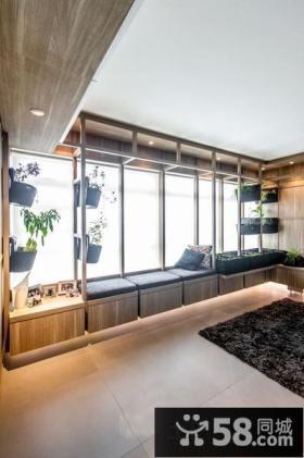 时尚田园家居客厅长飘窗装饰效果图