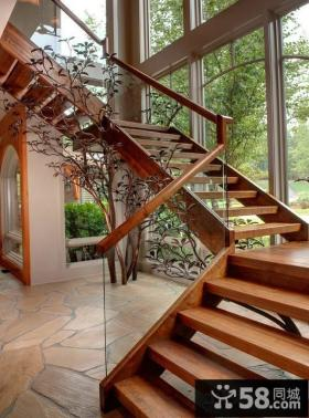 美式现代风格别墅楼梯效果图大全