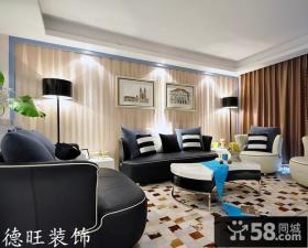 简约70平米小户型客厅背景墙挂画装饰效果图