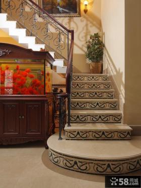 美式别墅楼梯扶手图片