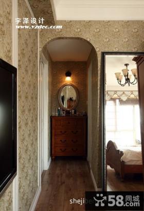 美式田园客厅过道装饰设计图