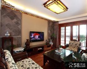 中式客厅电视背景墙家装设计效果图