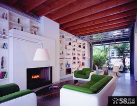 现代风格客厅壁炉收纳背景墙装修效果图