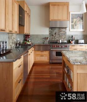 开放式厨房不锈钢台面橱柜图片