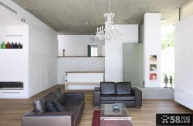 黑白简约客厅吊顶装修效果图大全2012图片