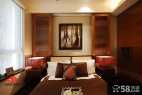 中式古典风格卧室床头挂画效果图片