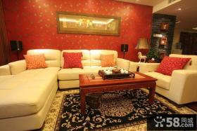 现代中式客厅沙发背景墙装修效果图大全
