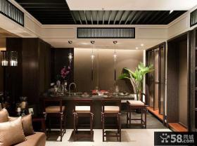 现代中式别墅家庭吧台装修效果图
