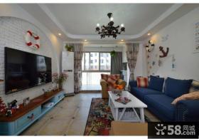 地中海风格80平小户型客厅装修图片2014