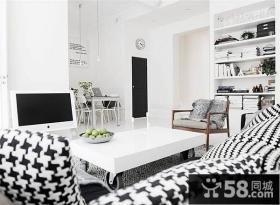 80平小户型黑白简约客厅电视背景墙装修效果图大全2014图片