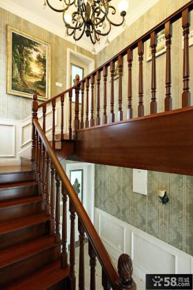 欧式复古风格设计木楼梯装修效果图