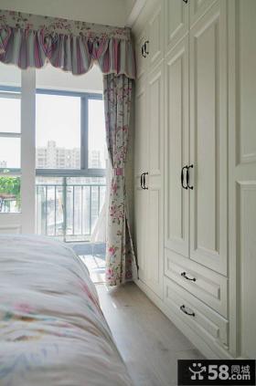 田园简约卧室阳台窗帘图片欣赏