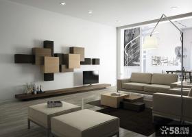 简约现代风格客厅电视背景墙图片