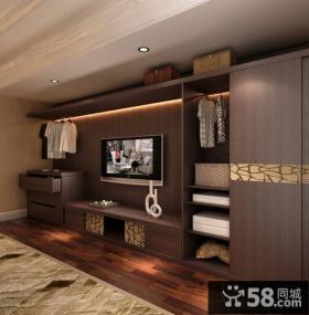 别墅卧室电视柜衣柜一体柜效果图
