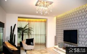 现代家庭客厅电视背景墙壁纸图片