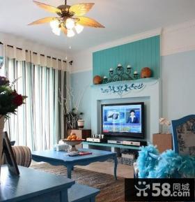电视背景墙装修效果图 地中海客厅装修效果图