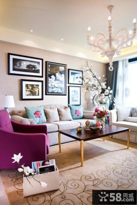 家装客厅照片装饰画图片大全