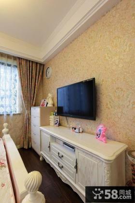 欧式风格卧室电视背景墙壁纸图片