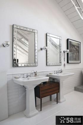 小复式楼洗手间装修效果图 干净简约