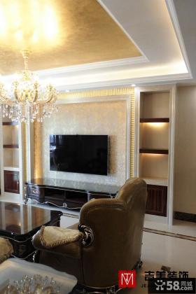 现代风格二居家庭装修客厅背景墙设计