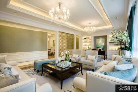 欧式风格别墅客厅书房一体效果图