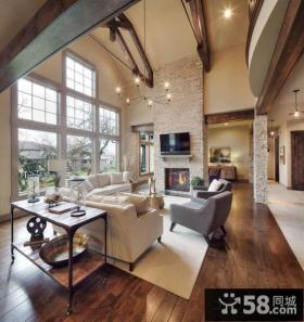 美式豪华复式客厅电视背景墙图片大全
