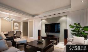 现代客厅电视机背景墙设计效果图