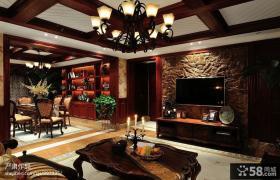 美式乡村风格客厅仿古砖电视背景墙装修效果图