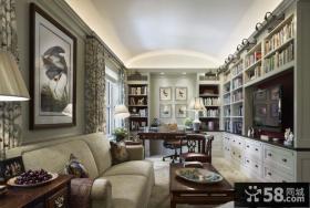 法式风格豪华别墅书房设计效果图