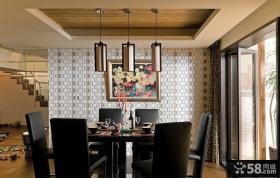 现代风格餐厅背景墙装饰画效果图