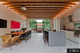 别墅厨房餐厅实木吊顶装修效果图