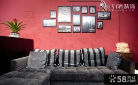 客厅沙发背景墙装饰画摆放效果图