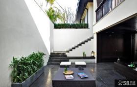 中式风格室外露天阳台装修效果图