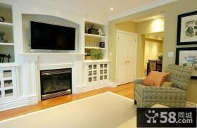 欧式风格主卧室嵌入式壁炉电视背景墙装修效果图