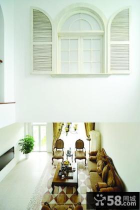 欧式风格挑空客厅效果图
