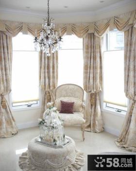 欧式装修豪华阳台窗帘图片