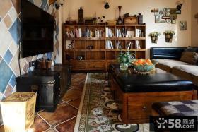 美式田园风格别墅客厅茶几装饰图片