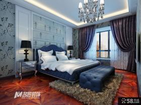 欧式风格主卧室窗帘效果图