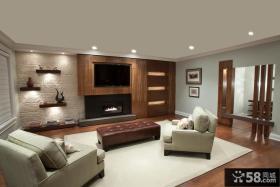 现代客厅嵌入式电视背景墙设计图