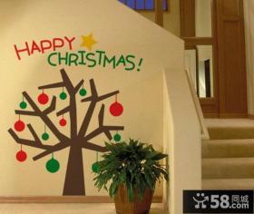 楼梯口圣诞装饰