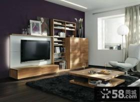 冷色调功能齐全的小户型客厅电视背景墙装修效果图大全2012图片