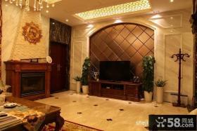 欧式别墅电视背景墙壁纸效果图