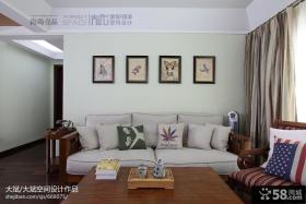 美式客厅实木布艺沙发背景墙效果图