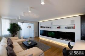 现代大户型公寓客厅壁炉电视背景墙效果图