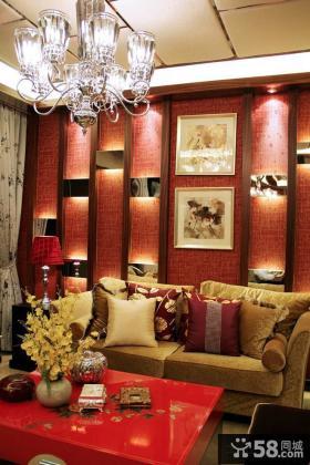 新亚洲风格客厅沙发背景墙效果图片