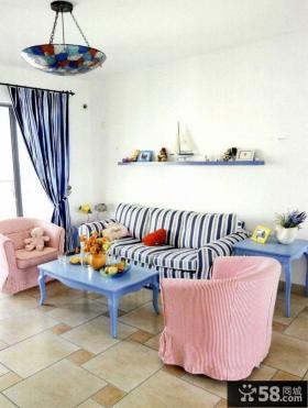 可爱蓝白地中海复式家居装修