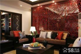 现代中式沙发背景墙效果图大全2013图片