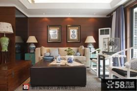 现代中式风格三居沙发挂画背景墙效果图